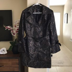 Leopard Print Raincoat with Bell Sleeve